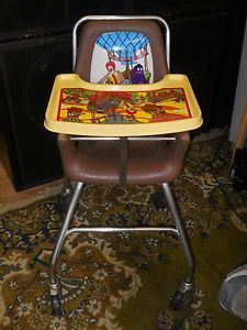 Vintage Ronald McDonald's Baby Highchair or Kids Booster Chair on Wheels