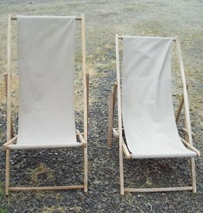 2 Vintage Wood Folding Deck Lounge Lawn Chair Canvas Beach VW camper Van Chairs