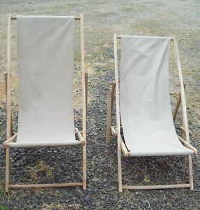 2 Vintage Wood Folding Deck Lounge Lawn Chair Canvas Beach VW camper Van Chairs