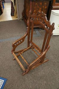 Eastlake Campaign Chair Folding Antique Aesthetic 1800's Walnut Burl Wood Frame