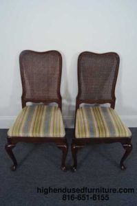 2 Ethan Allen Georgian Court Cane Back Side Chairs 11 6200