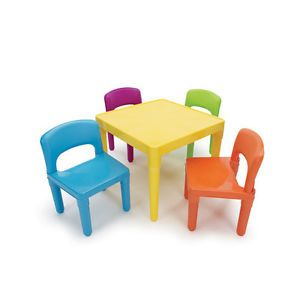 New Tot Tutors Kids Table 4 Chairs Colorful Plastic Play Dining Preschool Art