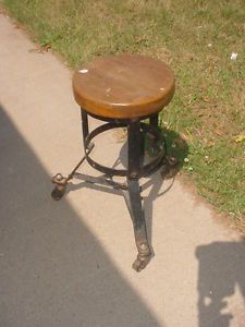 Vintage Antique Industrial Stool Chair Thick Round Oak Seat Caster Wheels 19 5""
