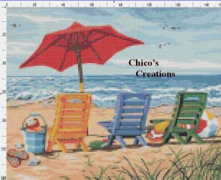 Cross Stitch Pattern Beach Chair Trio A122