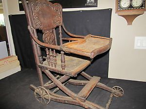 Antique Wooden High Chair Stroller Carved Wood Metal Wheels Unique