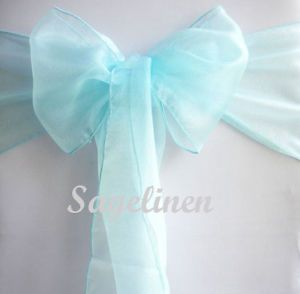 Tiffany Blue Wedding Organza Sashes Chair Cover Bow Banquet Party Deco 35 Color