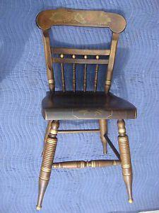 ... Ethan Allen Pine Hitchcock Chair Vintage Estate Antique Stencil Button  Back 6120 ...