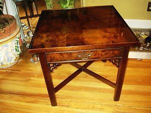 Henkel Harris Attributed Burled Mahogany Chippendale Chinese End Table Drawer