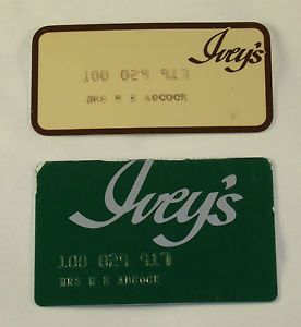Pair of Vintage Ivey's Department Store Credit Cards
