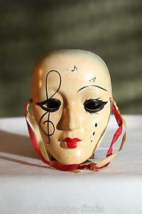 Lovely Vintage Musical Mask Drama Muse Porcelain Face Hand Painted Wall Art