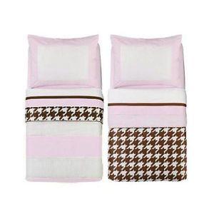 Bacati Metro Pink White Chocolate 4pc Toddler Bedding Set