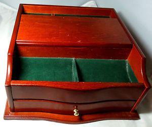 Men's Vtg Wood Jewelry Box Chest Tray Desk Dresser Valet Organizer Ring Holder
