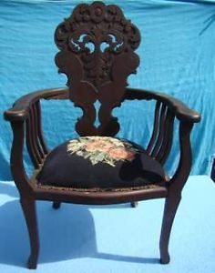 Antique Empire Mahogany Hand Carved Chair Needlepoint Seat Civil War Era 1880'S
