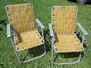 ... 2 Vintage Retro Aluminum Frame Arms Folding Lawn Chairs ...
