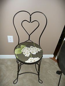 Set of 2 Antique BR Ice Cream Parlor Chairs Heart Shape Metal Frame Padded Seats