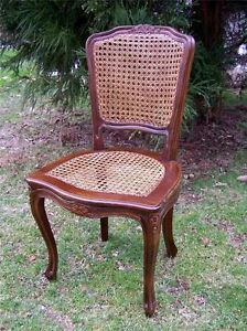 Antique Louis XVI Hand Carved Hand Woven Caned Seat Back Desk Side Chair