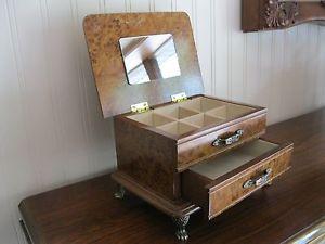 Vtg Old Wood Jewelry Box Dresser Chest Organizer Mirror Drawer London Leather