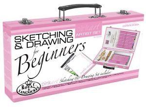 Art Set Royal Pink Beginner Kit Sketching Drawing Girls Artist Box Kids Crafts