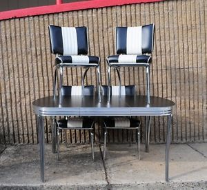 1950's Vtg Style Black and White Kitchen Dining Set Chrome Table 4 Chairs Modern