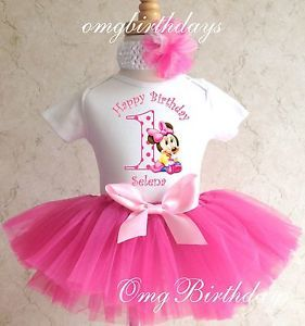 Baby Minnie Mouse First 1st 2nd 3rd Birthday Girl Pink Tutu Outfit Set Shirt 1 3