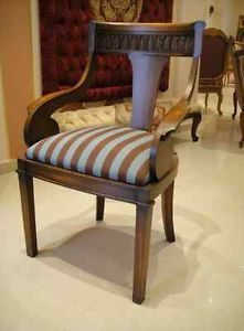 Luxury Arm Chair Dining French Restaurant Hotel Stripe Italian Wood Blue Brown