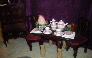 American Girl Felicity Tea Set Party Treats Non AG Table Chairs and Buffet