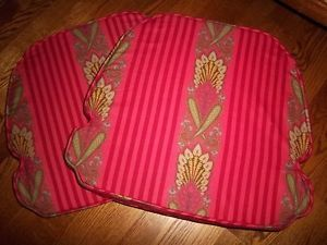 French Country Schumacher Paisley Fabric Chair Cushions Pads Teal Red