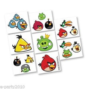 16 Angry Birds Temporary Tattoos Birthday Party Supplies Favors