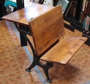 Antique 1900's  Roebuck Company Child's Wood School Desk Bench Chair