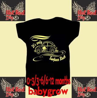 Hot Rod 58 VW Rust Baby Grow Shower Body Suit Vest Romper Racing Drag Bike Car