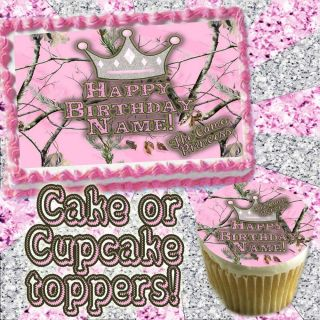 Camo Priness Edible Cake or Cupcakes Topper Image Camouflage Decal Transfer Pink