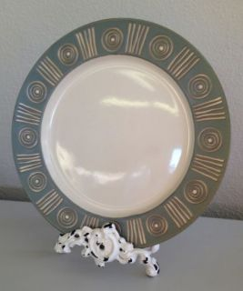 Pottery Barn Bongo Green Aztec Dinner Plates 4