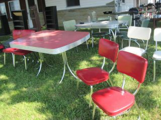 vintage retro chrome 1950 u0027s kitchen formica table red cracked ice 4 chairs     vtg 1950s cracked ice formica drop leaf kitchen cart table      rh   popscreen com