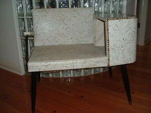 "50's Mid Century Atomic ""Starry Night' Gossip Bench Telephone Phone Chair"