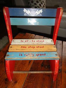 Vintage Mid Century Child Convertible Chair Step Stool