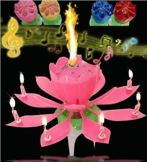 2 Pcsbeautiful Birthday Candle Musical Blossom Lotus Flower Birthday Candle Pink