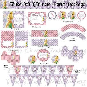 Tinkerbell Birthday Party Package Printable Custom Invitation