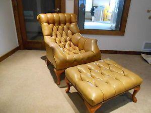 Mid Century Modern Sleepy Hollow Leather Lounger Chair and Ottoman