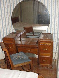 Art Deco Waterfall Bedroom Set Vanity Wardrobe Dresser Chair Bed Frame