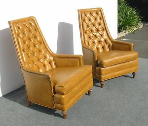 Pair Gold Hollywood Regency Highback Sculptured Chairs Milo Vaugn Eames Era