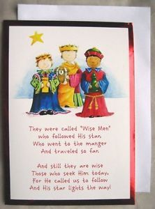 18 Red Foil Christmas Cards Wise Men Children Bible Verse Religious Star Card