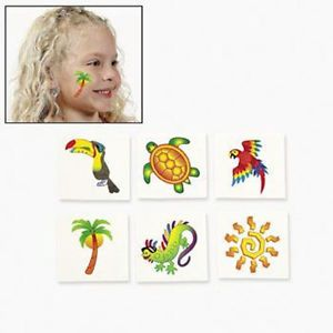 36 Tropical Tattoos 3 Dozen Kids Luau Party Favors Parrot Turtle Palm Tree
