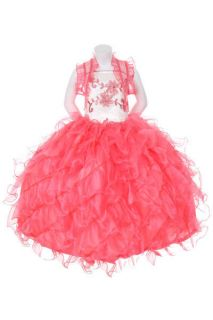 New Girl Glitz Pageant Party Wedding Ruffled Bolero Dress Coral 2 4 6 8 10 12
