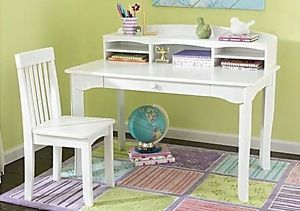 Childrens Shabby White Cottage Chic Wood Hutch Writing Desk Chair Set Adorable