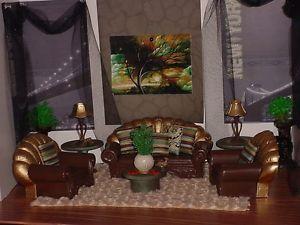 Barbie OOAK House Furniture Diorama Monster High 1 6 Living Room Chair Table J5
