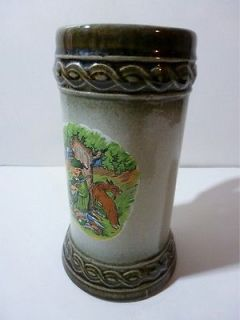 Gerzit Gerz Original German Stoneware Beer Stein Mug Sleeping Hunter Fox No Lid