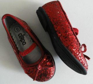 Wizard of oz Dorothy Ruby Slippers Red Glitter Shoes Toddler Sz 6