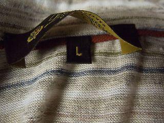 Loro Piana Mens Shirt L 100 Flax Short Sleeve Knit Polo Linen Striped Italy