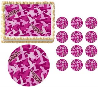 Duck Dynasty Pink Camo Print Hunting Edible Cake Topper Frosting Sheet All Sizes