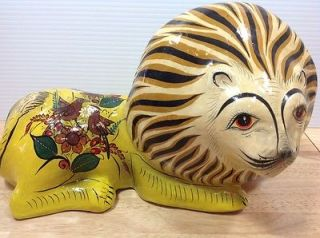 Mexican Paper Mache Lion Arco Tonala JAL Mexico Large Hand Painted Folk Art Vtg